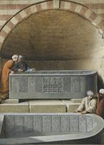 Figures in a tomb examining basalt sarcophogae, Cairo