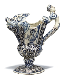 A CONTINENTAL FAIENCE BLUE AND