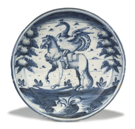 A SPANISH FAIENCE BLUE AND WHI