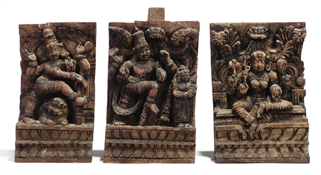 THREE INDIAN HARDWOOD CARVINGS