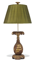 AN INDIAN GILTWOOD FINIAL LAMP