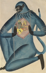A Kalligat Painting of Hanuman