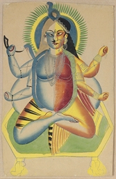 A Kalligat painting of Shiva A