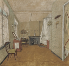 The interior of a bedroom with