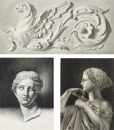 Trompe l'oeil of a plaster or