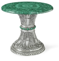 AN ITALIAN SILVER AND MALACHITE TABLE