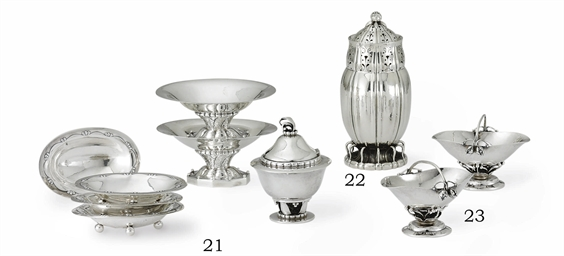 A GROUP OF DANISH SILVER DISHE