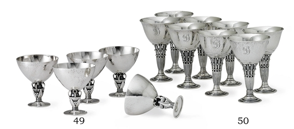 A GROUP OF FIVE DANISH SILVER