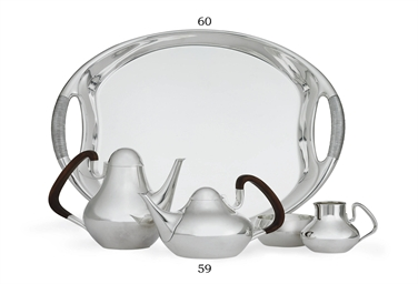 A DANISH SILVER FOUR-PIECE TEA