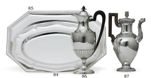 A GERMAN SILVER HOT WATER JUG