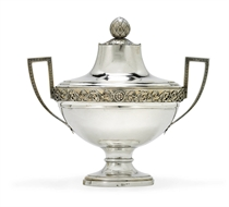 A GERMAN PARCEL-GILT SILVER SOUP TUREEN
