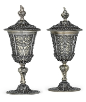 A RARE PAIR OF GERMAN SILVER-GILT AND SILVER FILIGREE CUPS AND COVERS