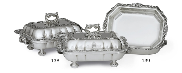 A PAIR OF REGENCY SILVER ENTRE