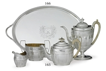 AN ASSEMBLED GEORGE III SILVER TEA AND COFFEE SERVICE**
