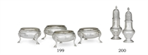 A SET OF FOUR GEORGE II SILVER SALT CELLARS