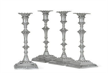 FOUR GEORGE III SILVER CANDLES