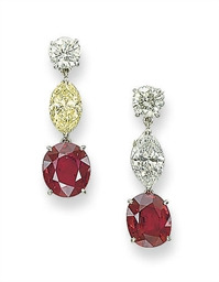 A PAIR OF RUBY, COLOURED DIAMO