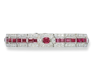 AN ART DECO RUBY AND DIAMOND B