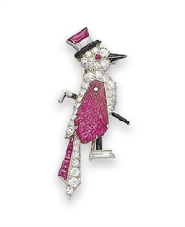 A WHIMSICAL ART DECO RUBY, ONY