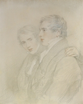 Double portrait of Richard Rowland Bloxam (1797-1877) and Andrew Bloxam (1801-1878), half-length, in profile, on the eve of their departure for the Sandwich Islands [Hawaii] in 1823