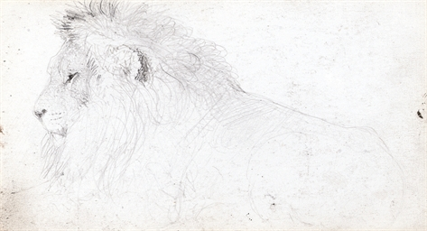 Study of a lion (recto); and S