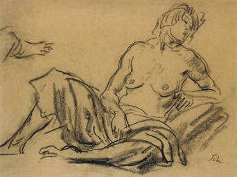 Seated woman, half-nude