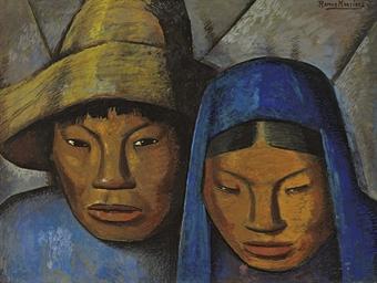 La pareja en azul