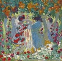 Femme sous les orangers