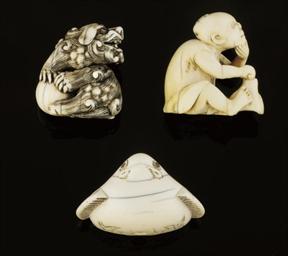 A group of three ivory netsuke