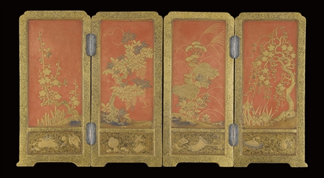 A Four panel lacquer screen, M