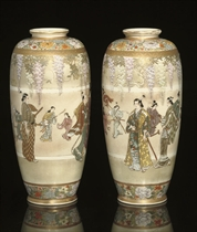 A Pair of Kinkozan vases, Meiji Period (1868-1912)
