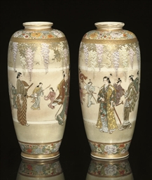 A Pair of Kinkozan vases, Meij