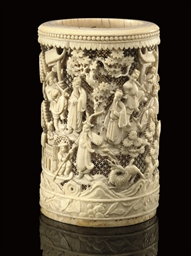 An ivory brushpot, 19th Centur