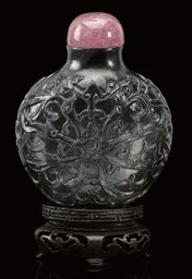 A black jade snuff bottle, lat