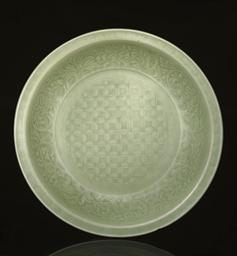 A large celadon glazed charger