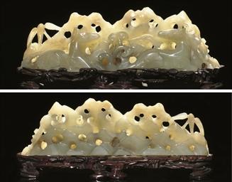 A Celadon jade brushrest, Ming