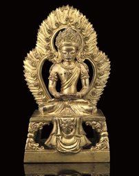 A gilt bronze model of Amitayu