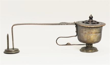A long-handled gilt bronze cen