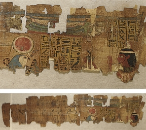 AN EGYPTIAN PAINTED PAPYRUS FR