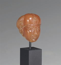 AN EGYPTIAN CARNELIAN HEAD OF