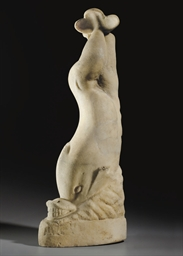 A ROMAN MARBLE DOLPHIN SUPPORT