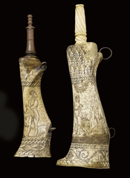 AN ITALIAN ENGRAVED BONE POWDE
