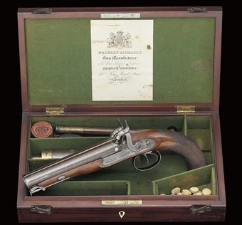 a cased 18-bore d.b percussion officer's or howdah pistol by westley richards, 170 new bond st. london