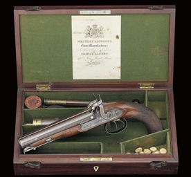 a cased 18-bore d.b percussion officer's or howdah pi
