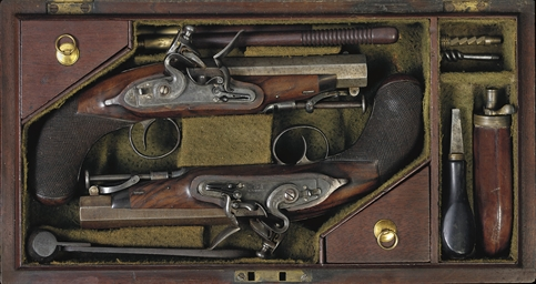 A CASED PAIR OF 11-BORE FLINTL