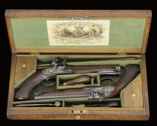 A FINE CASED PAIR OF FLINTLOCK