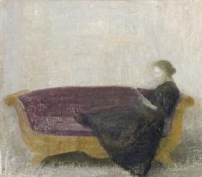 Laesende dame i sofa (Reclinin