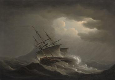 A frigate heeling in an offsho