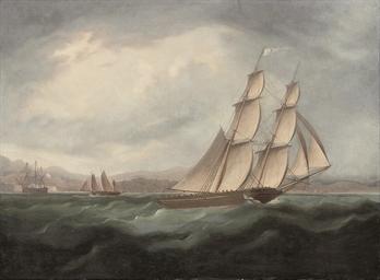 A brig running under full sail