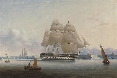 H.M.S. Britannia leaving Valet